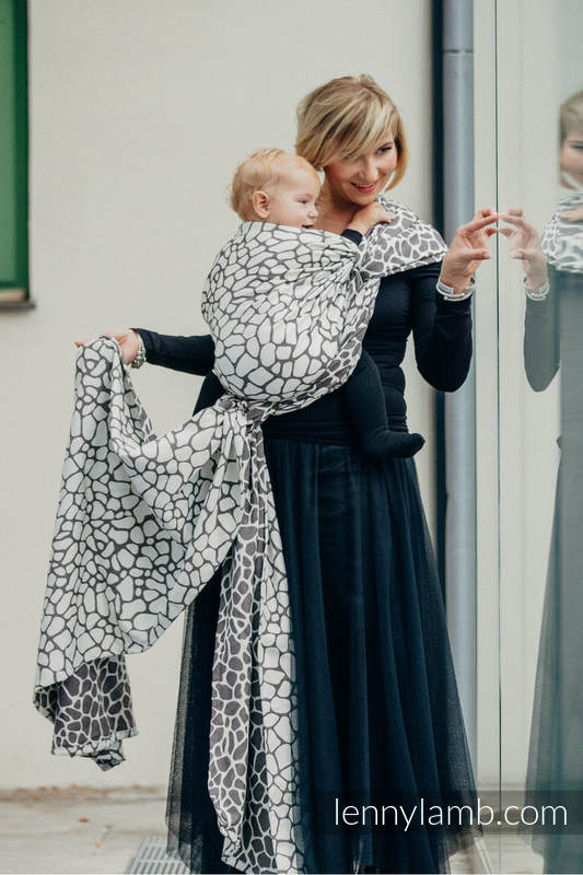 Baby Wrap, Jacquard Weave (100% cotton) - GIRAFFE DARK BROWN & CREME - size XL #babywearing