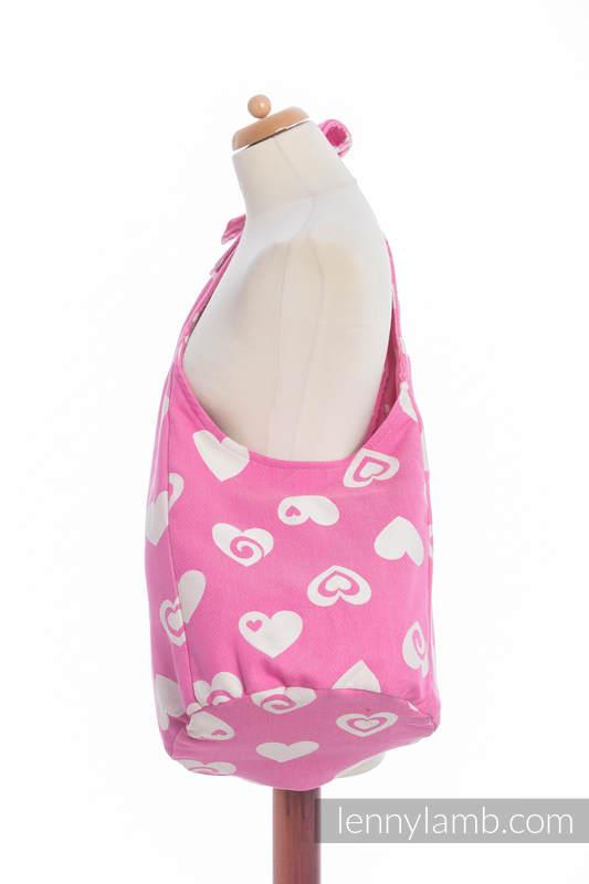 Hobo Tasche, hergestellt vom gewebten Stoff (100% Baumwolle) - SWEETHEART ROSA & CREME 2.0 #babywearing