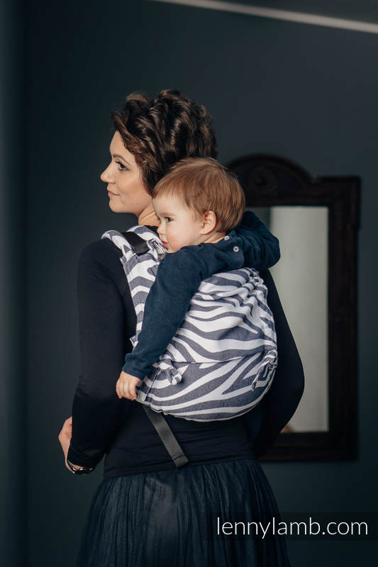 Lenny Buckle Onbuhimo baby carrier, standard size, jacquard weave (100% cotton) - ZEBRA GRAPHITE & WHITE #babywearing