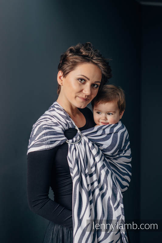 Ringsling, Jacquard Weave (100% cotton) - with gathered shoulder - ZEBRA GRAPHITE & WHITE - long 2.1m (grade B) #babywearing