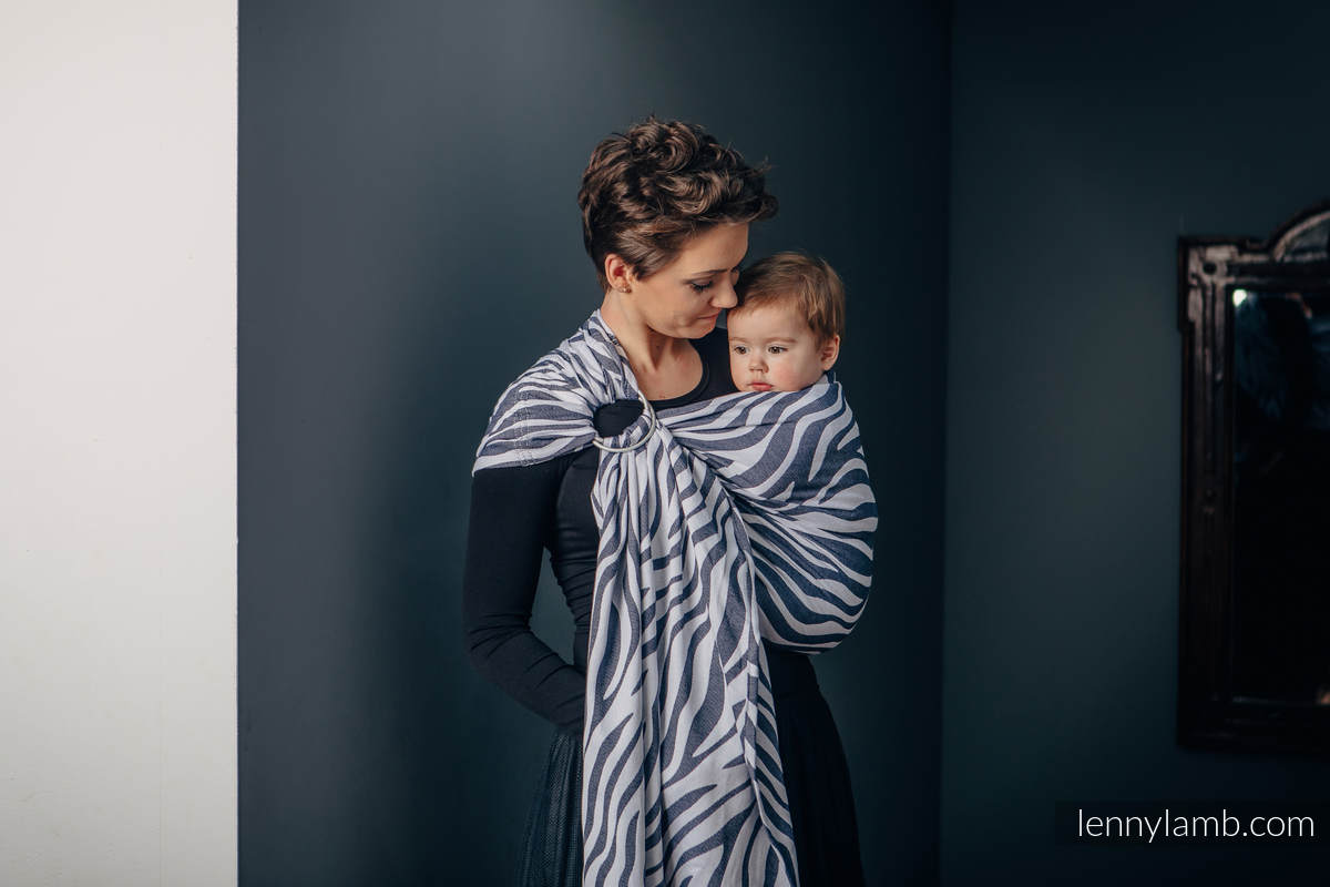 Ringsling, Jacquard Weave (100% cotton) - with gathered shoulder - ZEBRA GRAPHITE & WHITE - long 2.1m #babywearing
