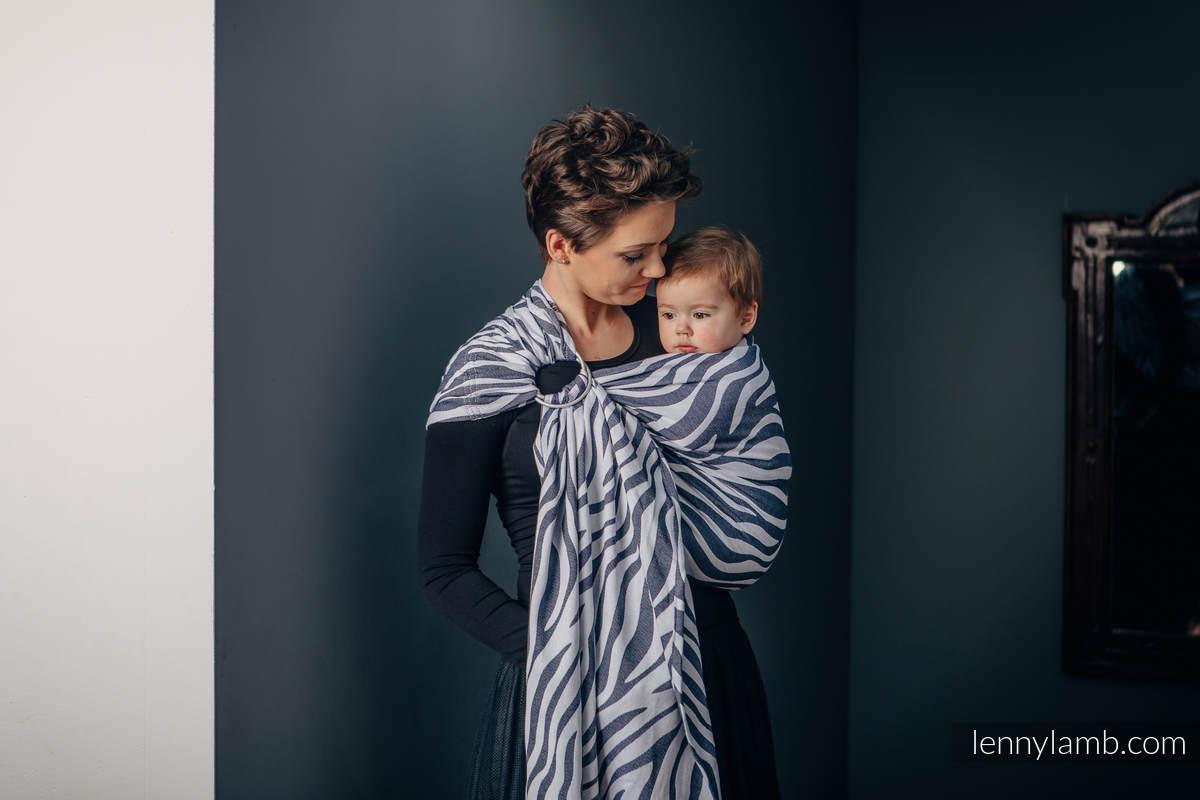 Ringsling, Jacquard Weave (100% cotton), with gathered shoulder - ZEBRA GRAPHITE & WHITE - standard 1.8m #babywearing
