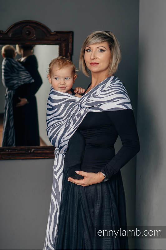 Tragetuch, Jacquardwebung (100% Baumwolle) - ZEBRA GRAFIT & WEISS - Größe M #babywearing