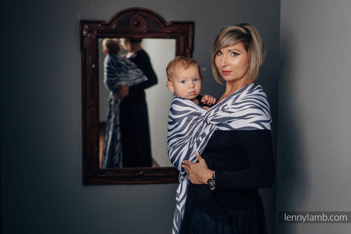 Baby Wrap, Jacquard Weave (100% cotton) - ZEBRA GRAPHITE & WHITE - size XS (grade B) #babywearing
