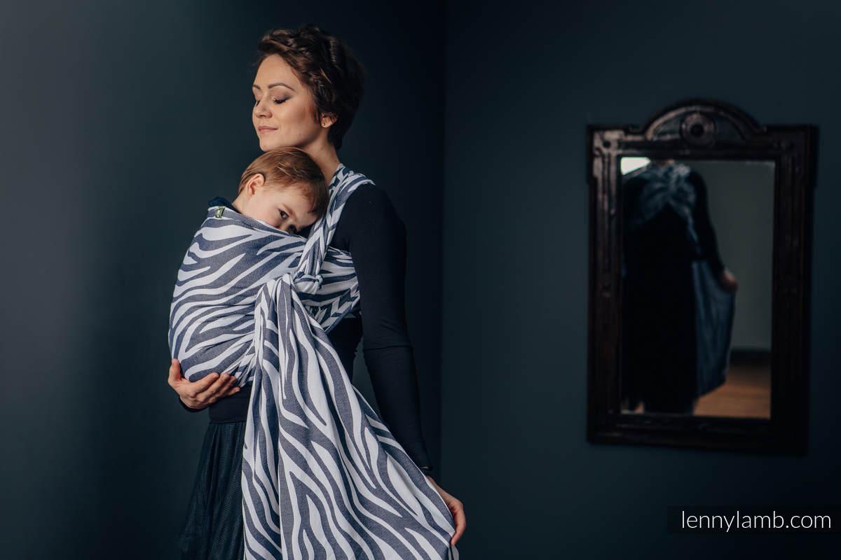 Baby Wrap, Jacquard Weave (100% cotton) - ZEBRA GRAPHITE & WHITE - size M (grade B) #babywearing