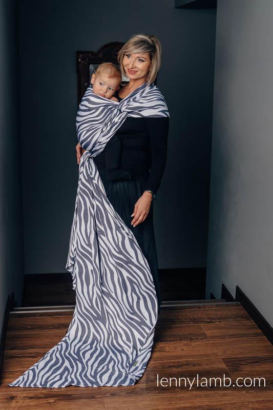 Baby Wrap, Jacquard Weave (100% cotton) - ZEBRA GRAPHITE & WHITE - size L (grade B) #babywearing