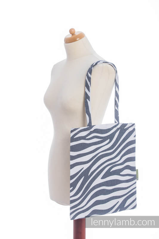 Shopping bag made of wrap fabric (100% cotton) - ZEBRA GRAPHITE & WHITE #babywearing