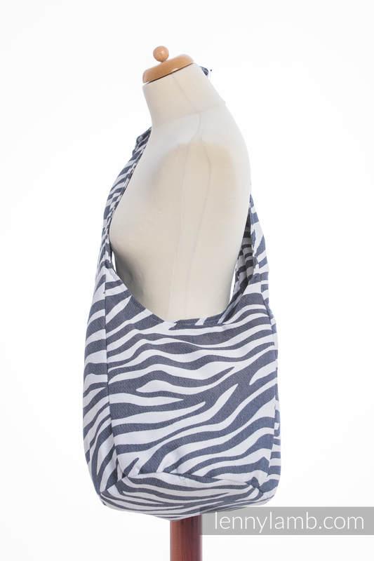 Hobo Tasche, hergestellt vom gewebten Stoff (100% Baumwolle) - ZEBRA GRAFIT & WEISS #babywearing