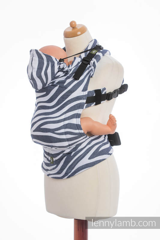 Ergonomic Carrier, Baby Size, jacquard weave 100% cotton - ZEBRA GRAPHITE & WHITE - Second Generation #babywearing