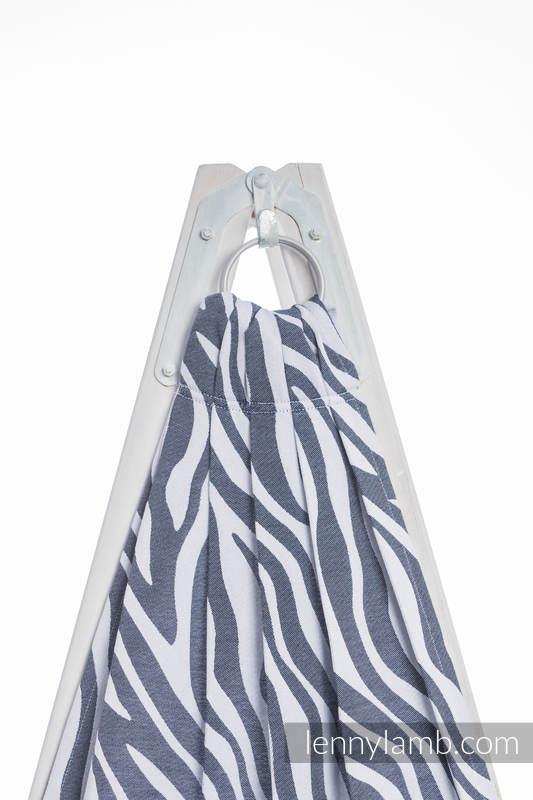 Chusta kółkowa, splot żakardowy, (100% bawełna) - ZEBRA GRAFIT Z BIELĄ  - standard 1.8m #babywearing