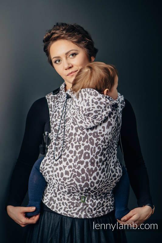 Nosidełko Ergonomiczne z tkaniny żakardowej 100% bawełna , Toddler Size, GEPARD CIEMNY BRĄZ Z BIAŁYM - Druga Generacja #babywearing