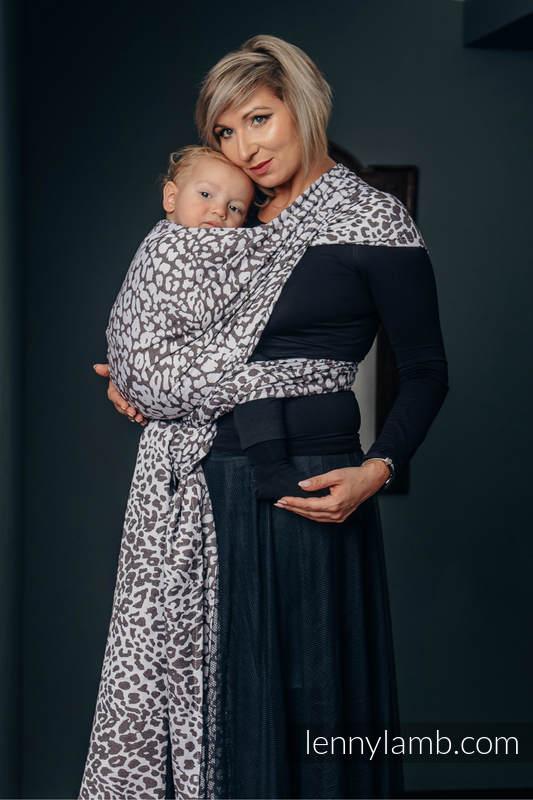 Żakardowa chusta do noszenia dzieci, bawełna - GEPARD CIEMNY BRĄZ Z BIAŁYM - rozmiar S (drugi gatunek) #babywearing