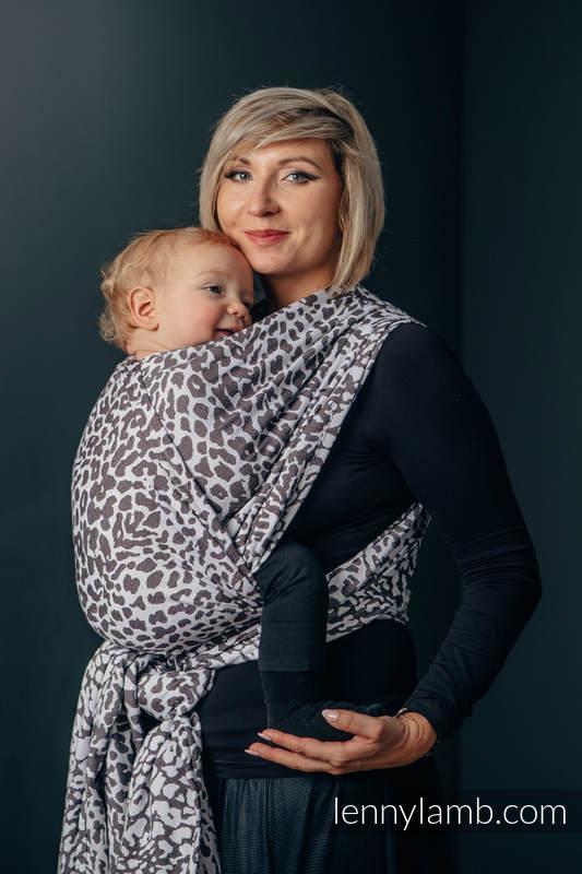 Baby Wrap, Jacquard Weave (100% cotton) - CHEETAH DARK BROWN & WHITE - size M (grade B) #babywearing