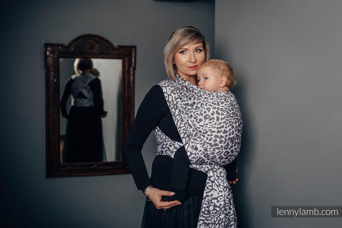 Żakardowa chusta do noszenia dzieci, bawełna - GEPARD CIEMNY BRĄZ Z BIAŁYM - rozmiar XS #babywearing