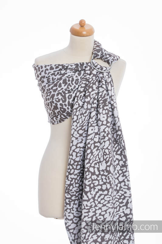 Ringsling, Jacquard Weave (100% cotton) - CHEETAH DARK BROWN & WHITE - long 2.1m (grade B) #babywearing