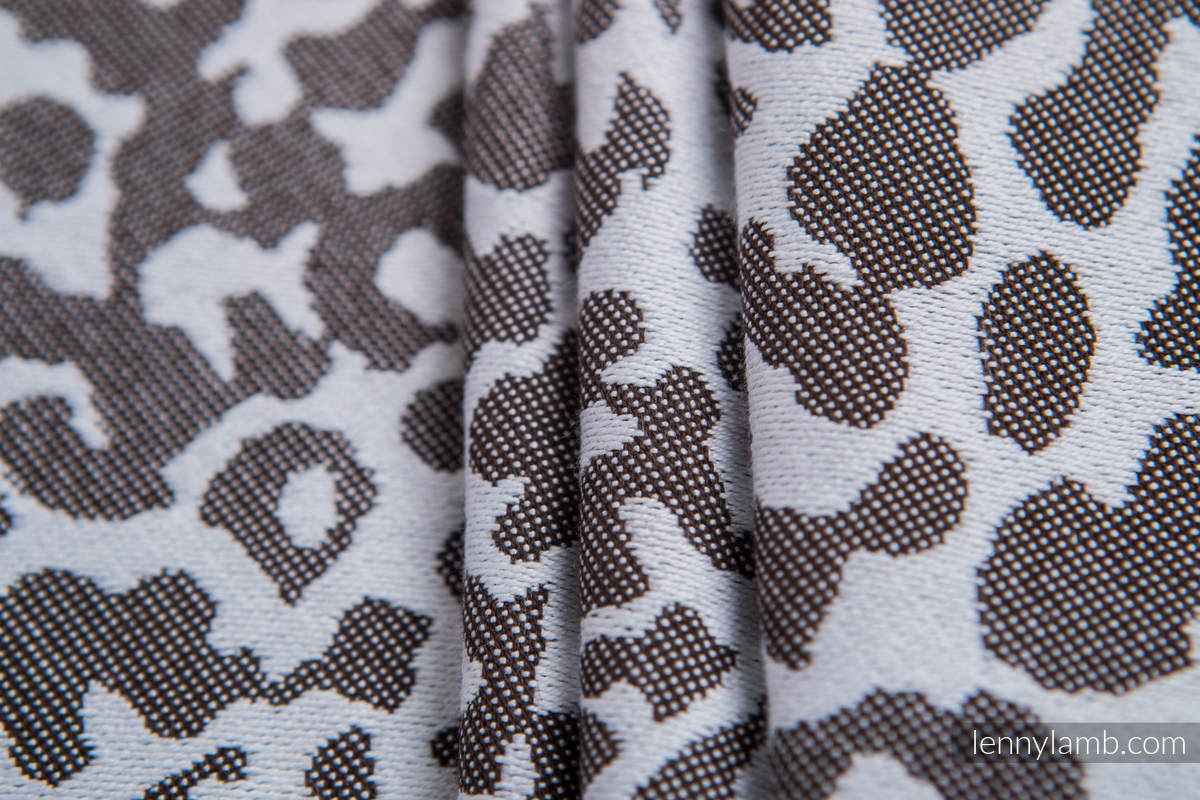Baby Wrap, Jacquard Weave (100% cotton) - CHEETAH DARK BROWN & WHITE - size L #babywearing
