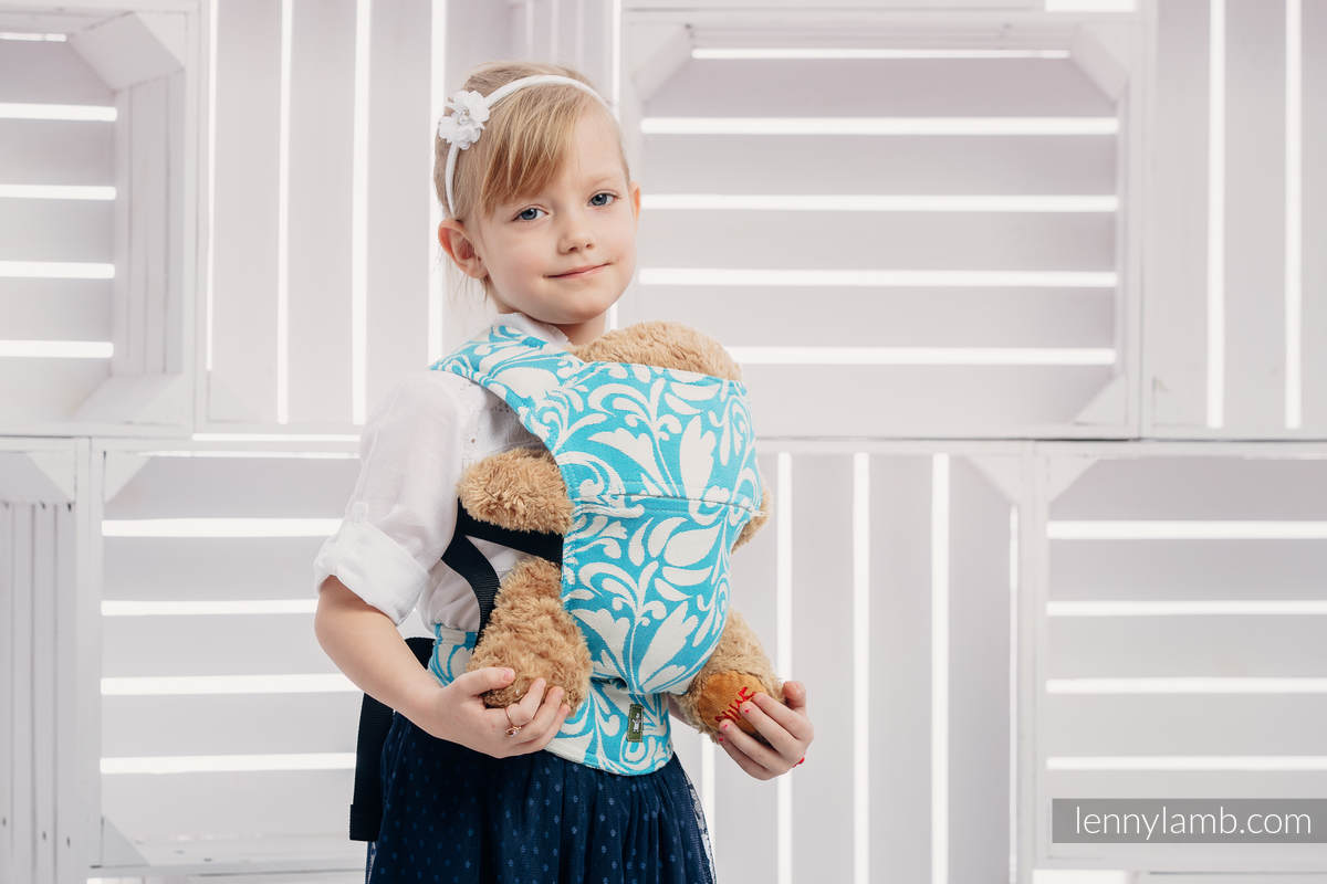 Doll Carrier made of woven fabric, 100% cotton  - TWISTED LEAVES CREAM & TURQUOISE  #babywearing