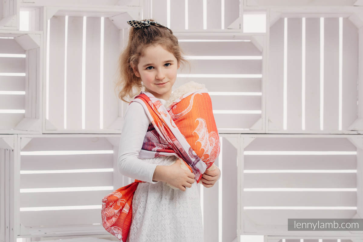 Doll Sling, Jacquard Weave, 100% cotton - DRAGON ORANGE & RED #babywearing
