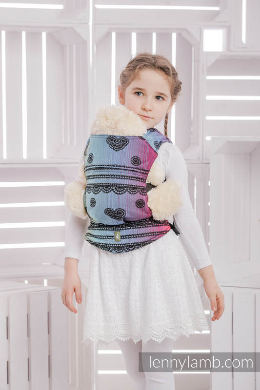 Doll Carrier made of woven fabric (100% cotton) - RAINBOW LACE DARK  #babywearing