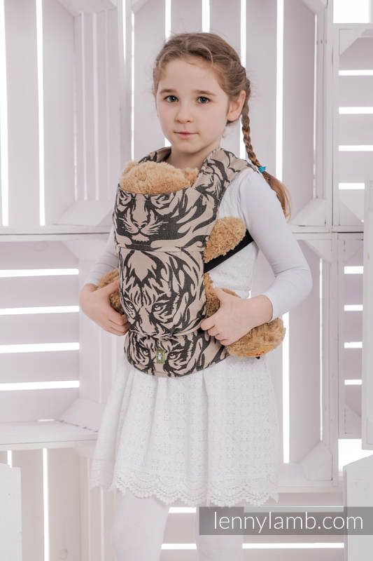 Doll Carrier made of woven fabric, 100% cotton - TIGER BLACK & BEIGE 2.0 #babywearing
