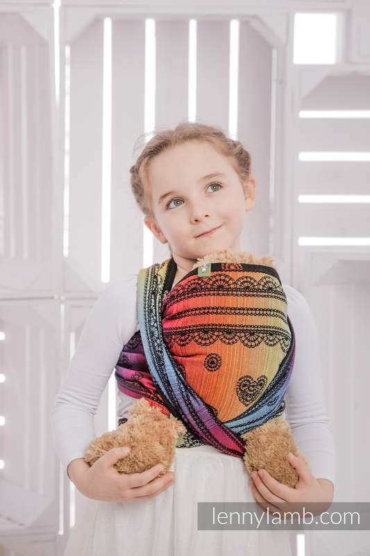 Doll Sling, Jacquard Weave, 100% cotton - RAINBOW LACE DARK  #babywearing