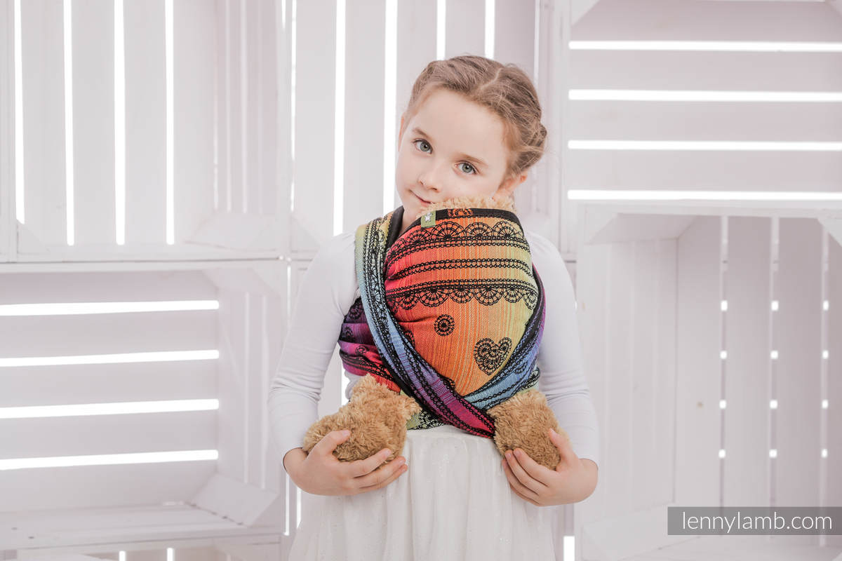 Puppentragetuch, Jacquardwebung, 100% Baumwolle - RAINBOW LACE DARK #babywearing