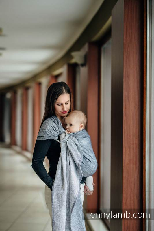 Ringsling, Jacquard Weave (100% cotton), with gathered shoulder - DENIM BLUE - standard 1.8m #babywearing