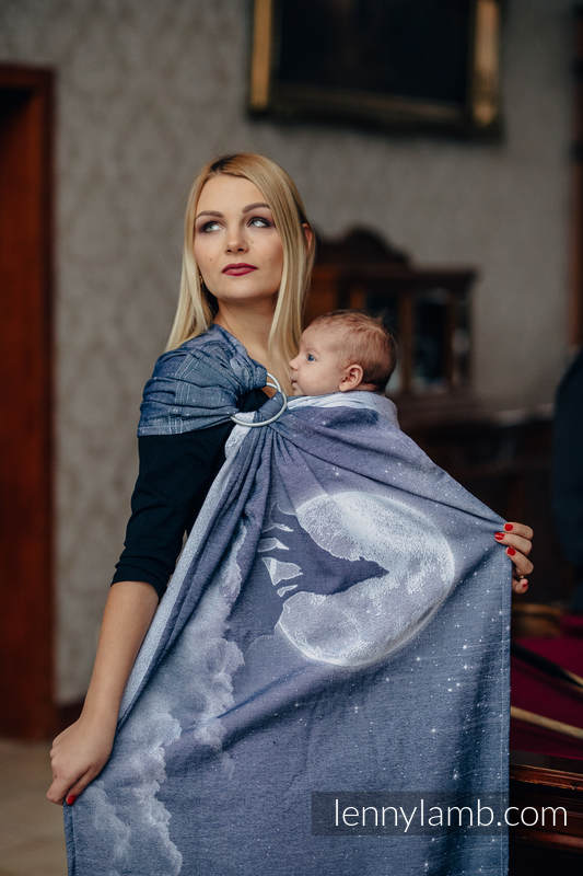 Ringsling, Jacquard Weave (100% cotton), with gathered shoulder - MOONLIGHT WOLF - standard 1.8m #babywearing