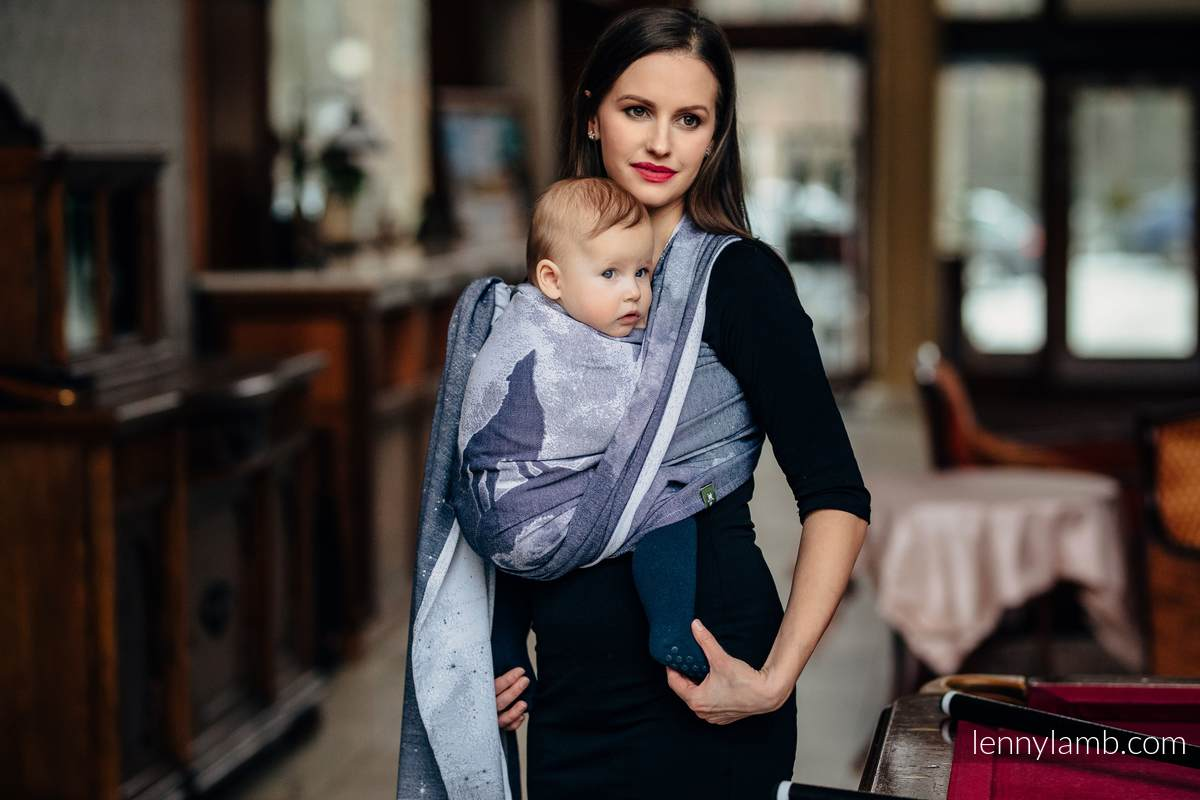 Baby Wrap, Jacquard Weave (100% cotton) - MOONLIGHT WOLF - size XL #babywearing