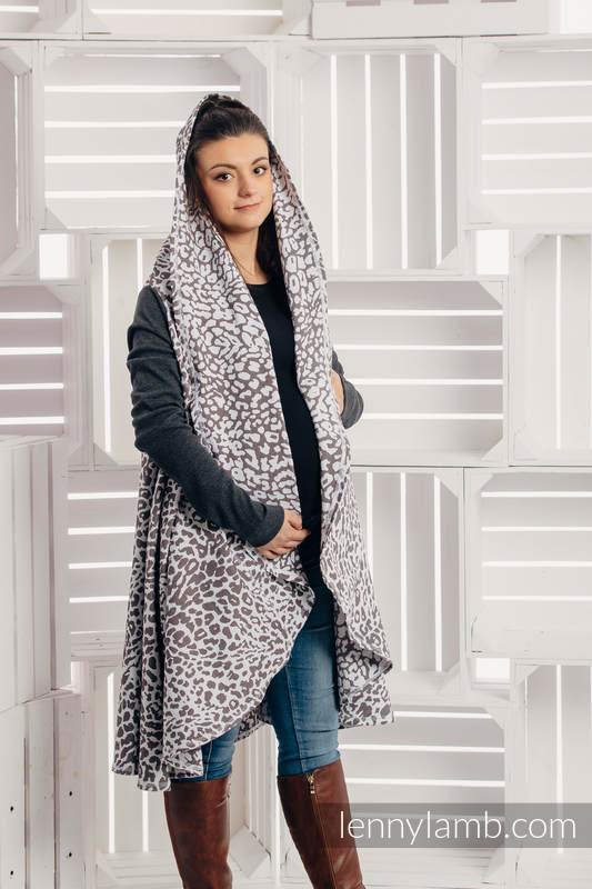 Długi kardigan - rozmiar L/XL - Gepard Ciemny Brąz z Białym #babywearing
