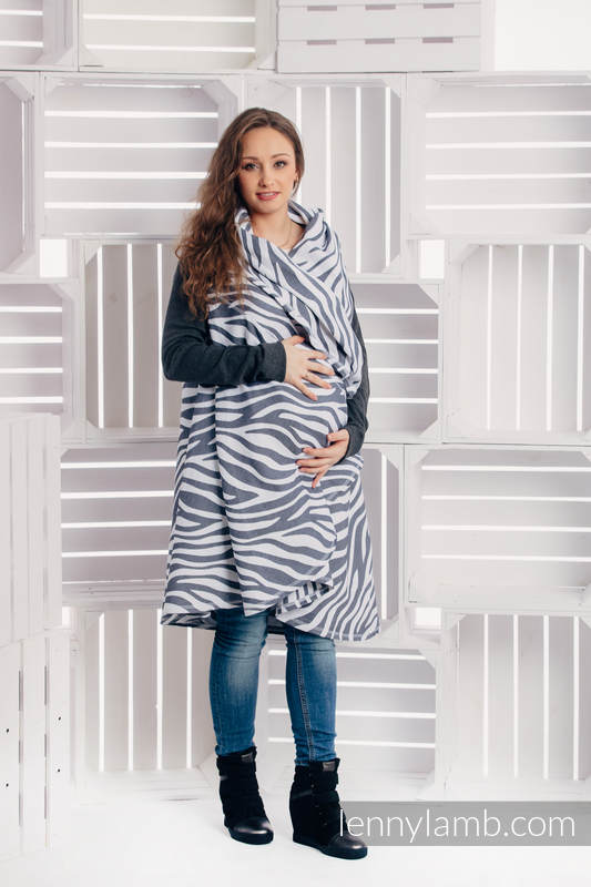 Long Cardigan - plus size - Zebra Graphite & White #babywearing