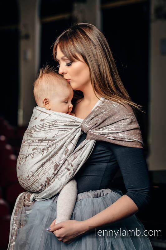 Baby Wrap, Jacquard Weave (100% cotton) - SYMPHONY CREME & BROWN - size M (grade B) #babywearing