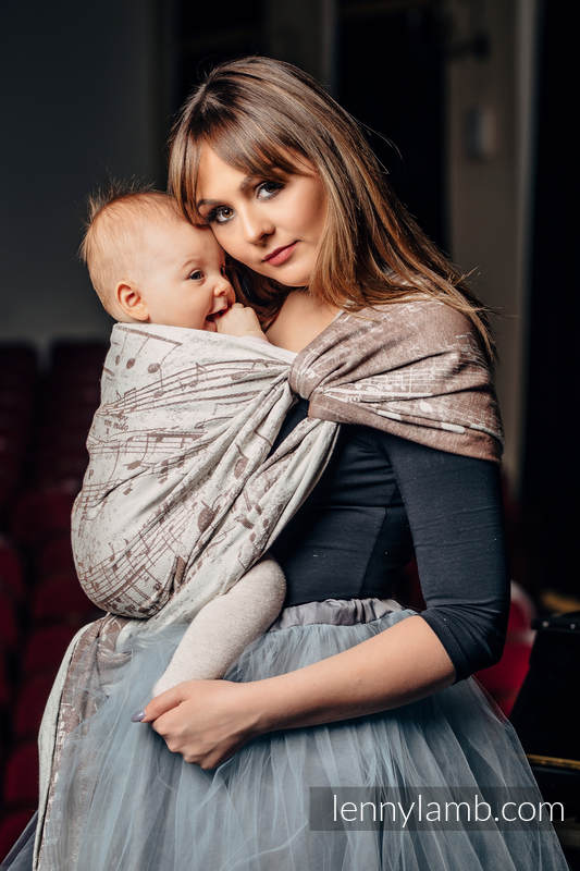 Baby Wrap, Jacquard Weave (100% cotton) - SYMPHONY CREME & BROWN - size XL (grade B) #babywearing