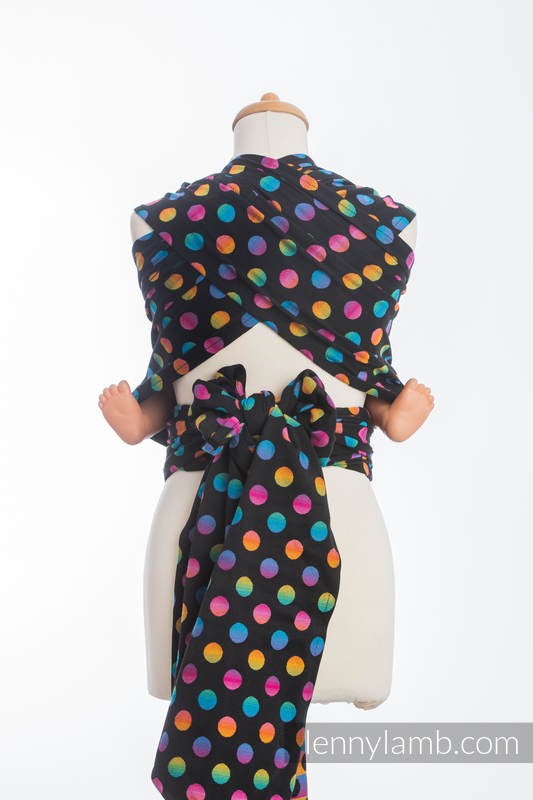 WRAP-TAI carrier Mini with hood/ jacquard twill / 100% cotton / POLKA DOTS RAINBOW DARK  #babywearing