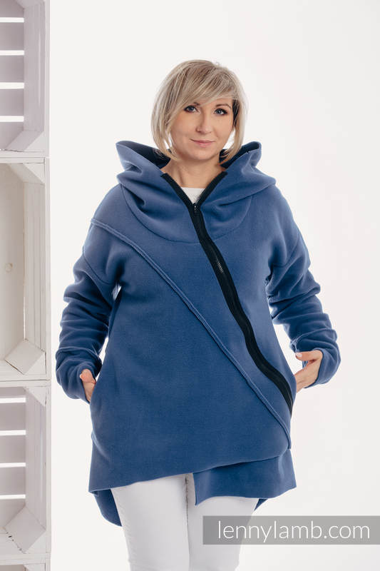 Asymmetrical Fleece Hoodie for Women - size L - Blue (grade B) #babywearing