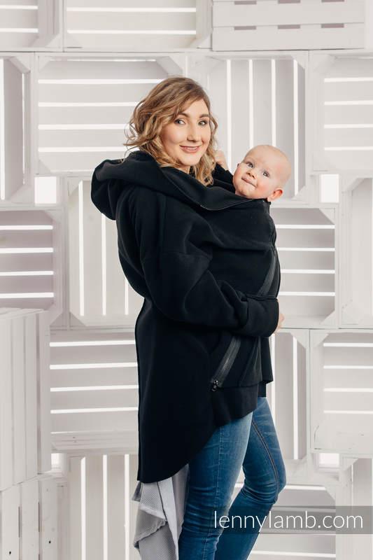 Asymmetrical Fleece Hoodie for Women - size L - Black (grade B) #babywearing