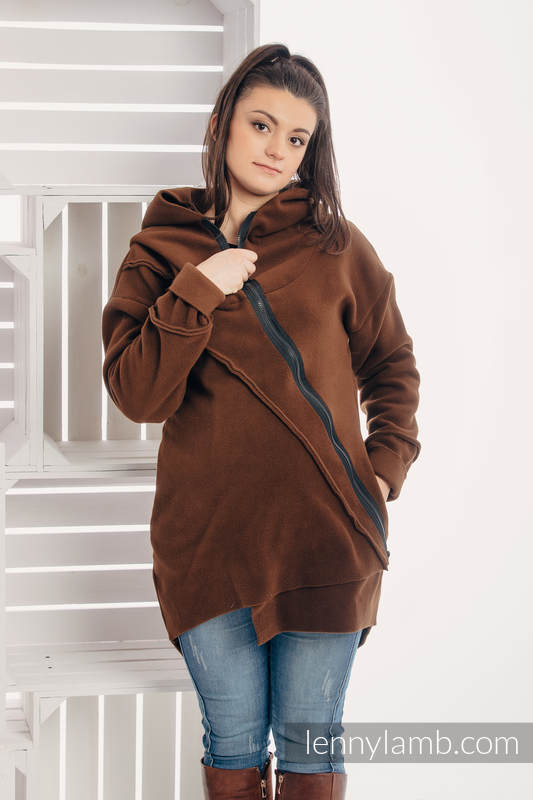 Asymmetrical Fleece Hoodie for Women - size M - Brown #babywearing