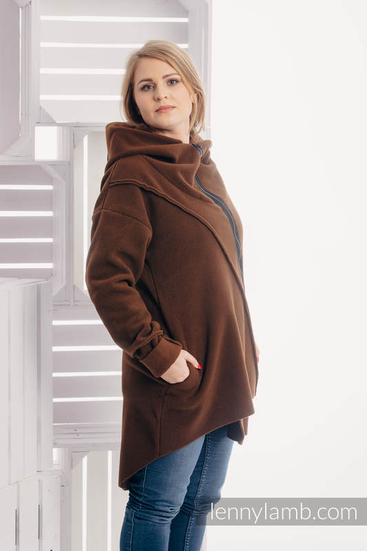 Asymmetrical Fleece Hoodie for Women - size L - Brown #babywearing