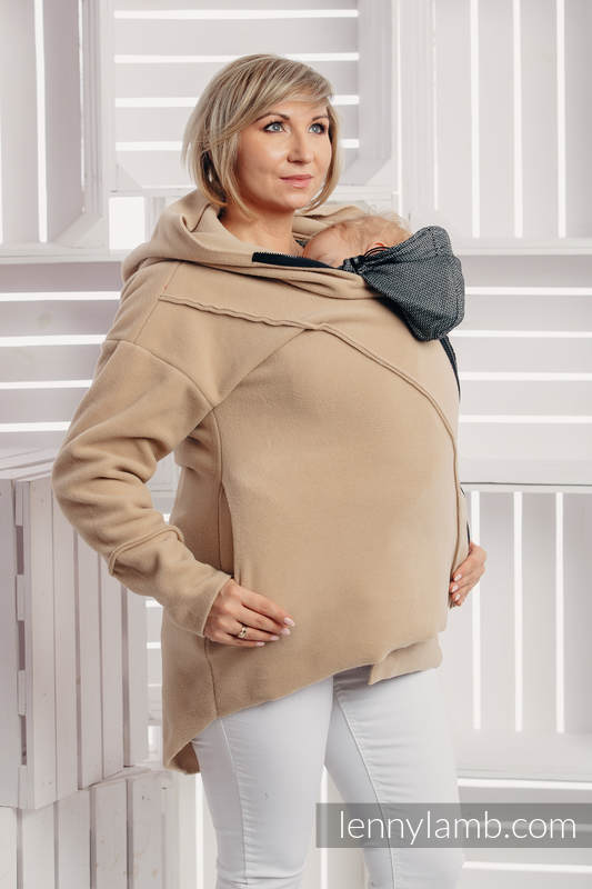 Asymmetrical Fleece Hoodie for Women - size M - Cafe Latte #babywearing