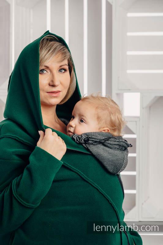 Chaqueta polar asimétrica con capucha para mujer - talla L - Verde Oscuro #babywearing