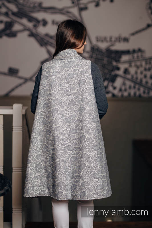 Long Cardigan - size L/XL - Paisley Navy Blue & Cream #babywearing