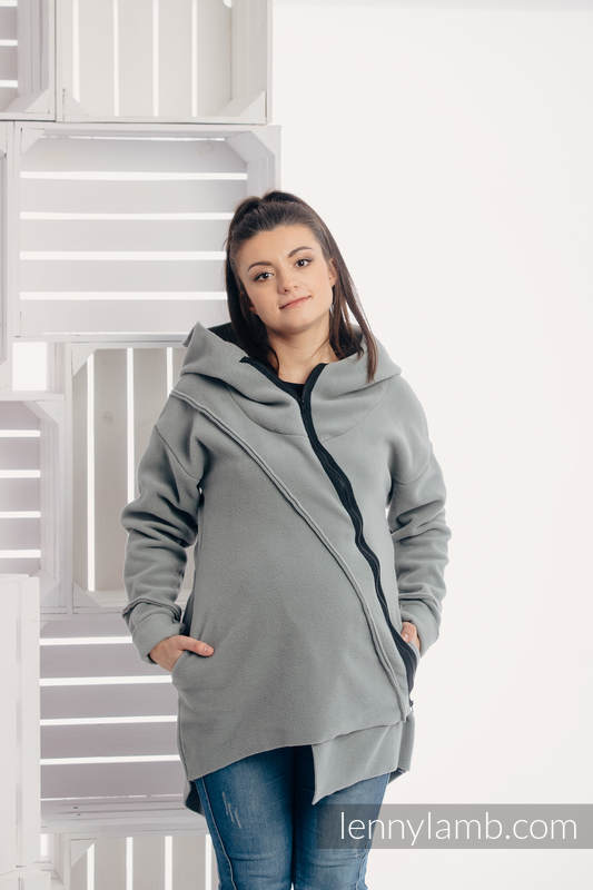 Chaqueta polar asimétrica con capucha para mujer - talla M - Gris #babywearing