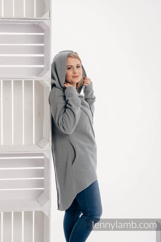 Asymmetrical Fleece Hoodie for Women - size S - Grey (grade B) #babywearing
