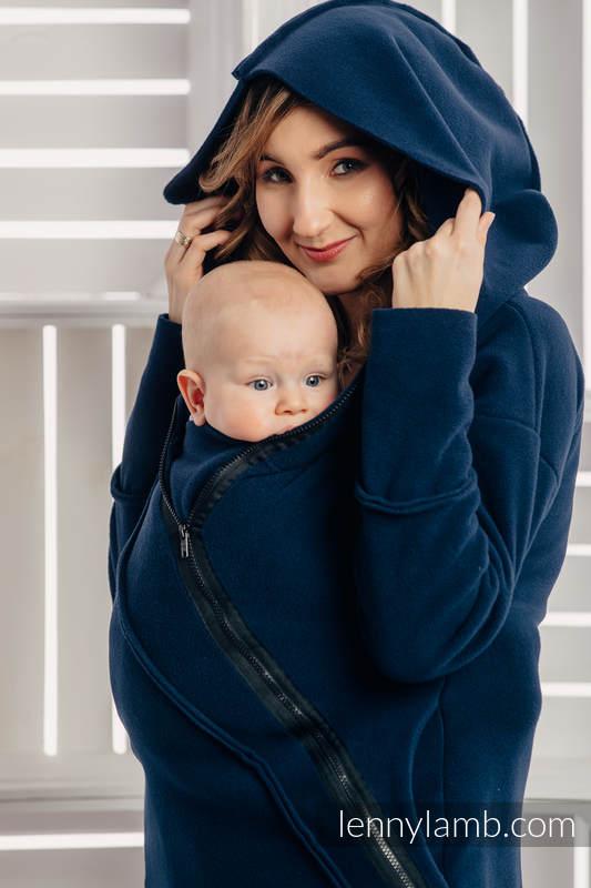 Chaqueta polar asimétrica con capucha para mujer - talla M - Azul Marino (Grado B) #babywearing