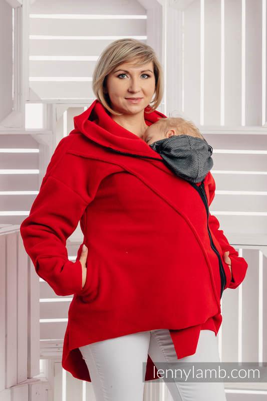 Asymetryczna Bluza Polarowa Damska - rozmiar M - Czerwona #babywearing