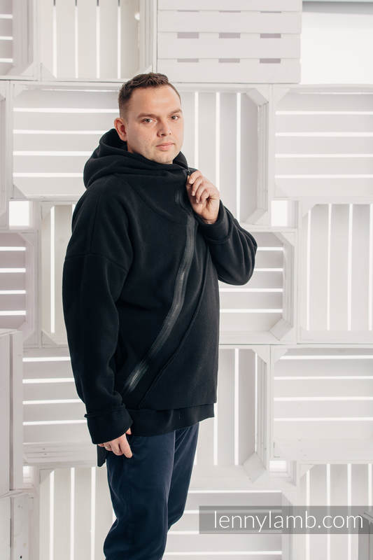 Asymmetrical Fleece Hoodie for Men - size M - Black #babywearing