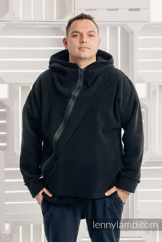 Chaqueta polar asimétrica con capucha para hombre - talla XXL - Negro #babywearing