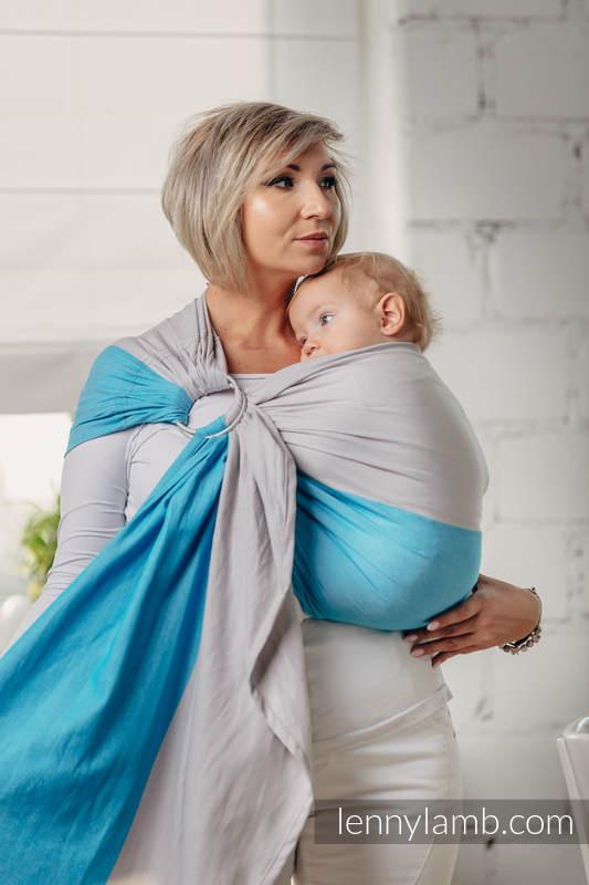 Moja pierwsza chusta kółkowa do noszenia dzieci - LARIMAR, tkana splotem skośno-krzyżowym - bawełniana - ramię bez zakładek - long 2.1m #babywearing