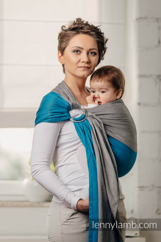 Basic Line Ring Sling - SODALITE - 100% Cotton - Broken Twill Weave -  with gathered shoulder - standard 1.8m #babywearing