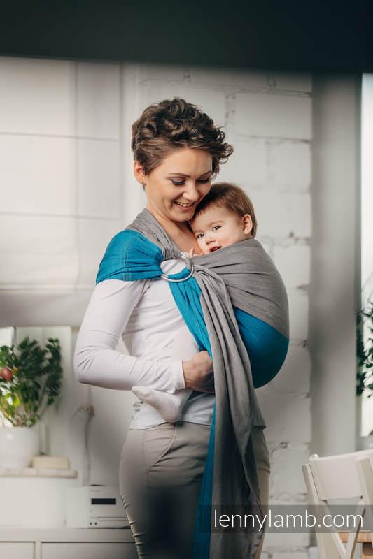 Moja pierwsza chusta kółkowa do noszenia dzieci - SODALIT, tkana splotem skośno-krzyżowym - bawełniana - ramię bez zakładek - long 2.1m (drugi gatunek) #babywearing